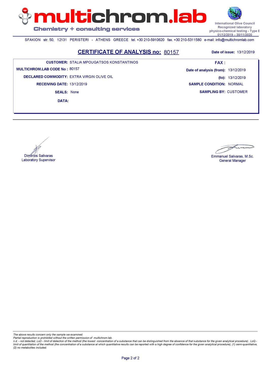 Certificate of Analysis 2019 Stalia Olive Oil
